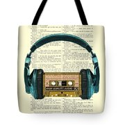 Blue Headphone And Yellow Cassette Collage Print Tote Bag