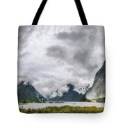 Heads In The Clouds Panorama At Milford Sound Tote Bag