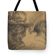 Heads Of A Man And A Woman Tote Bag