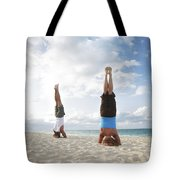 Headstand On Beach Tote Bag