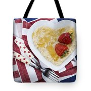 Healthy Breakfast Oats On Heart Shape Plate Tote Bag