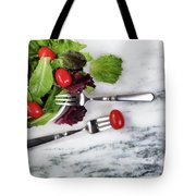 Healthy Organic Salad Flowing Out Of Plate On Natural Marble Tab Tote Bag