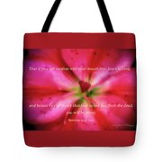 Heart Of A Flower With Bible Verses Tote Bag