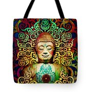 Heart Of Transcendence - Colorful Tribal Buddha Tote Bag by Christopher Beikmann