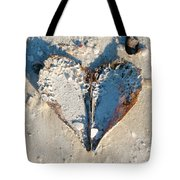 Heart On The Beach Tote Bag by Mike Evangelist