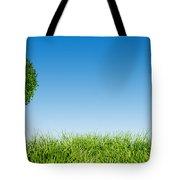Heart Shape Tree On Green Grass Field Tote Bag