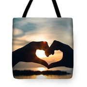 Heart Shaped Sunset Tote Bag