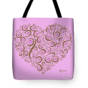 Heart With Pink Flowers And Swirls Tote Bag