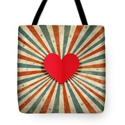 Heart With Ray Background Tote Bag