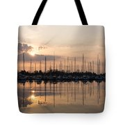 Heavenly Sunrays - Peaches-and-cream Sunrise With Boats Tote Bag