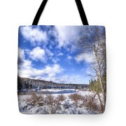Heavy Snow At The Green Bridge Tote Bag