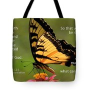 Hebrews Scripture Butterfly Tote Bag