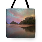 Heceta Head Lighthouse Foggy Sunset Tote Bag
