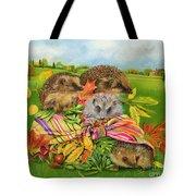Hedgehogs Inside Scarf Tote Bag