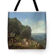 Heinrich Burkel 1802 - 1869 German Wirtshaus Auf Der Alm Mit Alpzug Tavern In The Alps Tote Bag