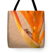 Heliconia And Frog Tote Bag