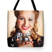 Help At Hand With Retro Woman Offering Assistance Tote Bag