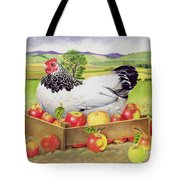 Hen In A Box Of Apples Tote Bag by EB Watts