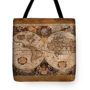 Henry Hondius Seventeenth Century World Map Tote Bag by Skye Ryan-Evans