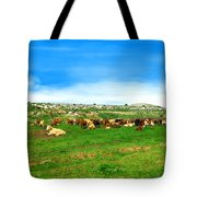 Herd Of Cows Under A Blue Sky In Green Hills Tote Bag