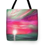 Here It Goes - In Teal And Magenta Vertical Sunset Tote Bag