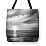 Here It Goes - Square Sunset In Black And White Tote Bag