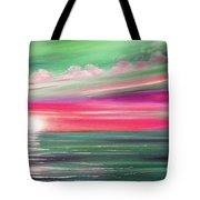 Here It Goes In Teal And Magenta Panoramic Sunset Tote Bag
