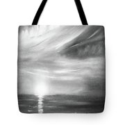 Here It Goes -vertical Sunset In Black And White Tote Bag