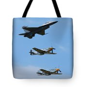 Heritage Flight, P-51 Mustang And F-16 Fighting Falcon Tote Bag
