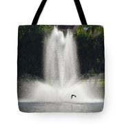 Heron Across A Fountain Tote Bag