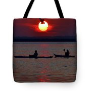 Heron And Kayakers Sunset Tote Bag