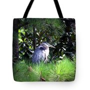 Heron On Pinetree Tote Bag