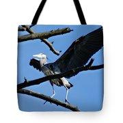 Heron Spreads Wings Tote Bag