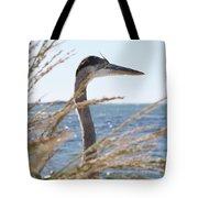 Heron Through The Grass Tote Bag