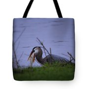 Heron Trying To Get His Fish Tote Bag