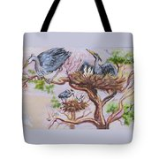 Herons At Nests Tote Bag