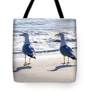 Herring Gulls On The Beach Tote Bag