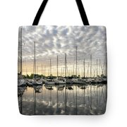 Herringbone Sky Patterns With Yachts And Boats  Tote Bag