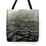 Hexagon Stones And A Mountain In The Morning Fog Tote Bag