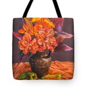 Hibiscus And Cannas In Balinese Jug Tote Bag