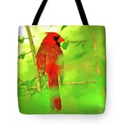 Hiding Behind The Leaves - Male Cardinal Art Tote Bag