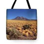 High Altitude Puna Grasslands And Miniques Volcano Chile Tote Bag