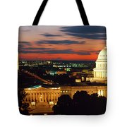 High Angle View Of A City Lit Tote Bag
