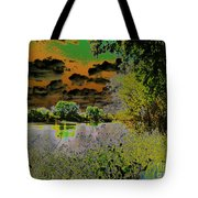 High Contrast River Sunset Tote Bag