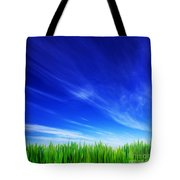 High Resolution Image Of Fresh Green Grass And Blue Sky Tote Bag