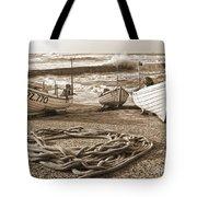 High Tide In Sennen Cove Sepia Tote Bag
