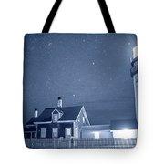 Highland Lighthouse Truro Ma Cape Cod Monochrome Blue Nights Tote Bag