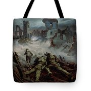 Highlanders Advancing To Caen Tote Bag by Orville Norman Fisher