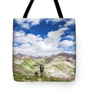Hiker And Dog Tote Bag