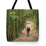 Hiker In Bamboo Forest Tote Bag by Greg Vaughn - Printscapes